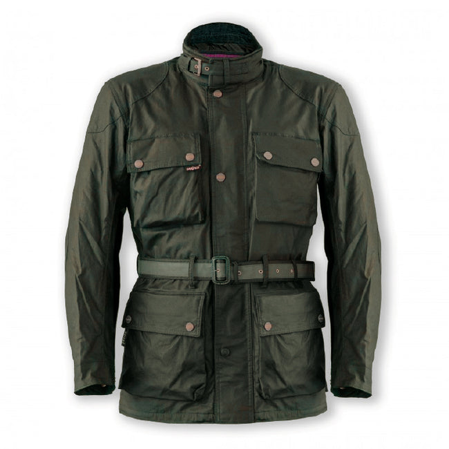 Garibaldi Heritage Olive mens waxed cotton look CE EN17092 motorcycle jacket