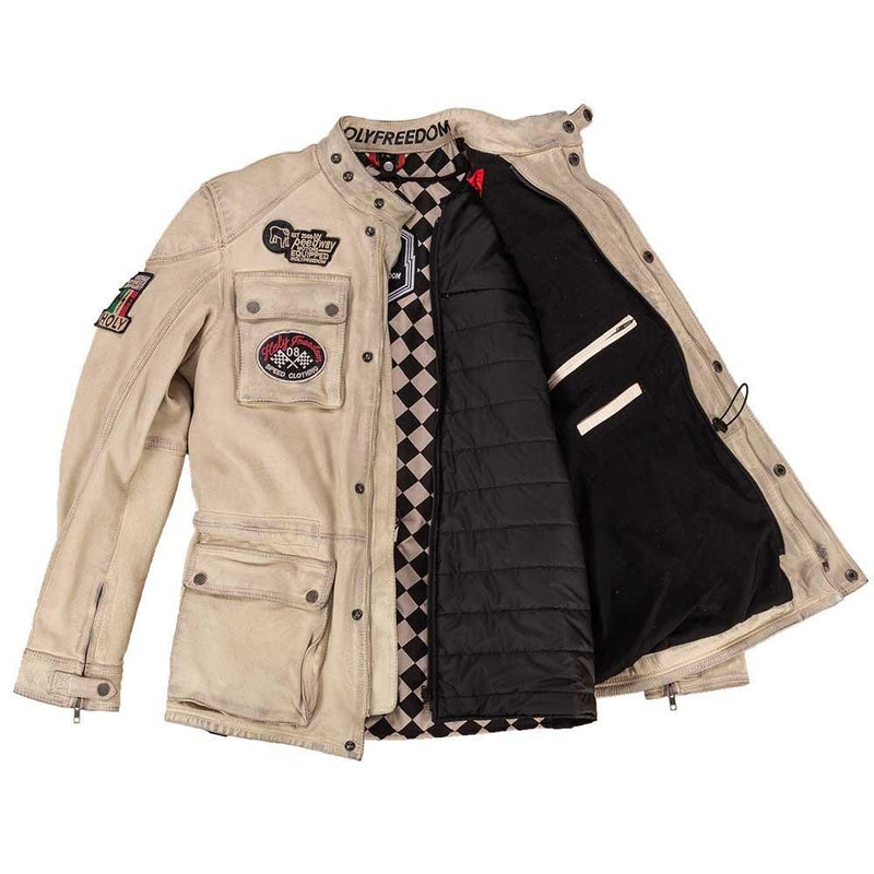 Holy Freedom Quattro White Leather Jacket
