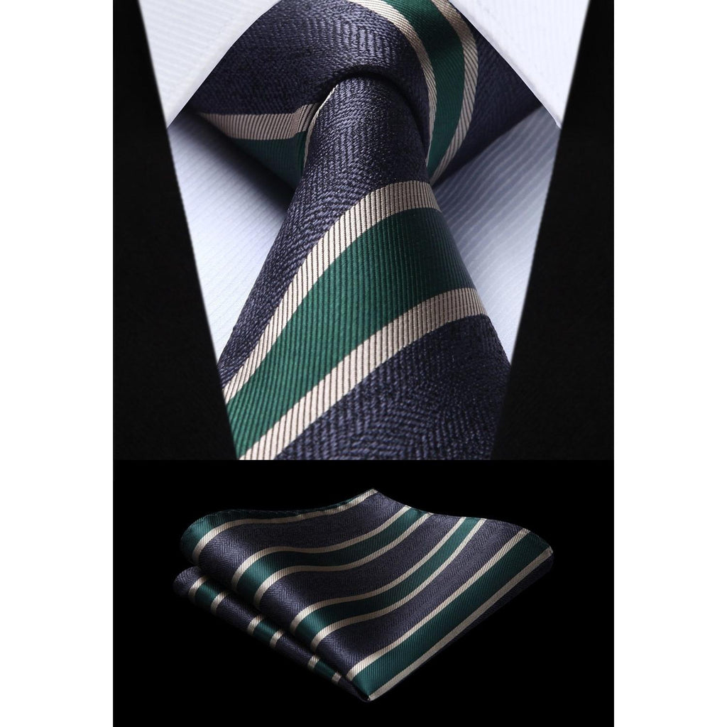 2d967651a61c Woven Men Tie Navy Blue Green Striped Necktie Handkerchief Set#TS802G8S  Party Wedding Classic Fashion