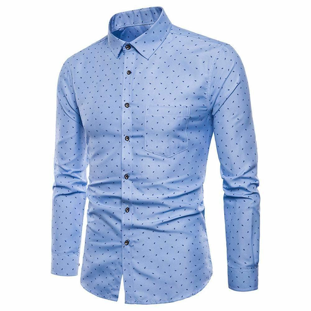 bb182fdea ... Mens Long Sleeve Oxford Formal Casual Suits Slim Fit Tee Dress Shirts  Blouse TopMore Than Classy