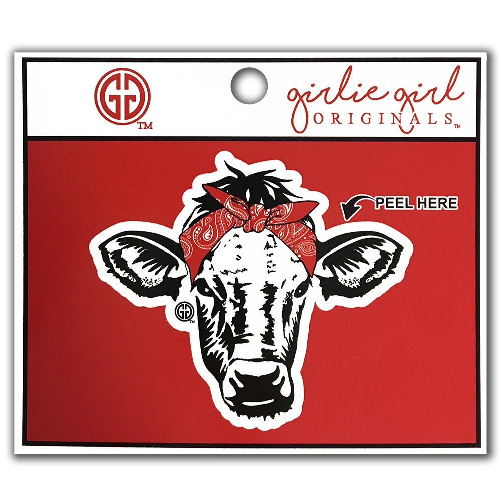 Bandana Cow Decal/Sticker Red
