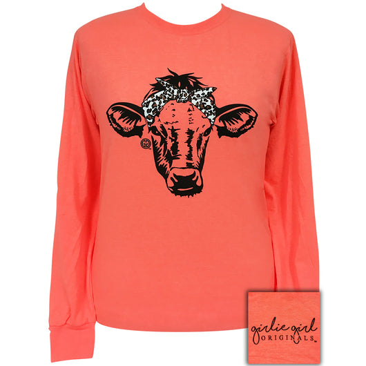 Leopard Bandana Cow-Retro Heather Coral LS-1824