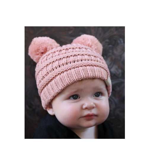 Baby-23 Double Pom Beanie Indi Pink