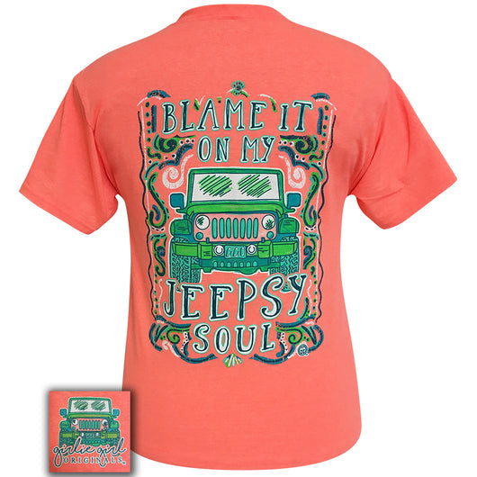 Jeepsy Soul Retro Heather Coral Short Sleeve Tee