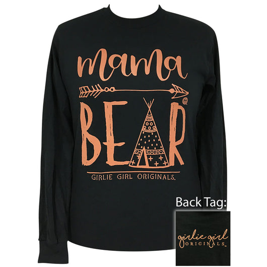 Mama Bear Teepee Black Long Sleeve