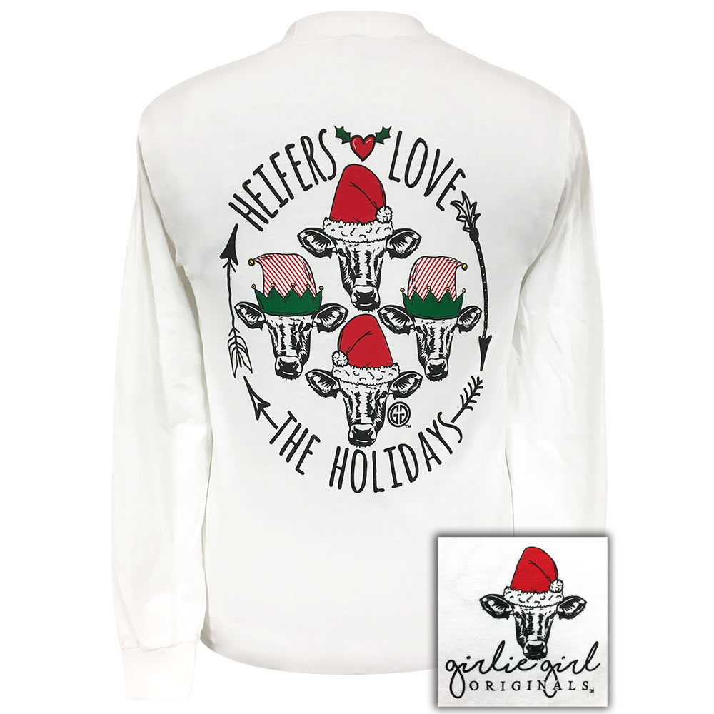 Heifers Love The Holidays White Long Sleeve