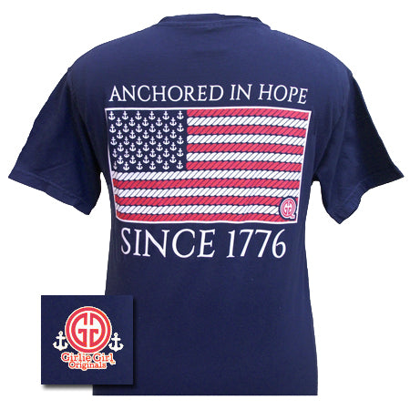 Anchored in Hope Flag Comfort Color True Navy