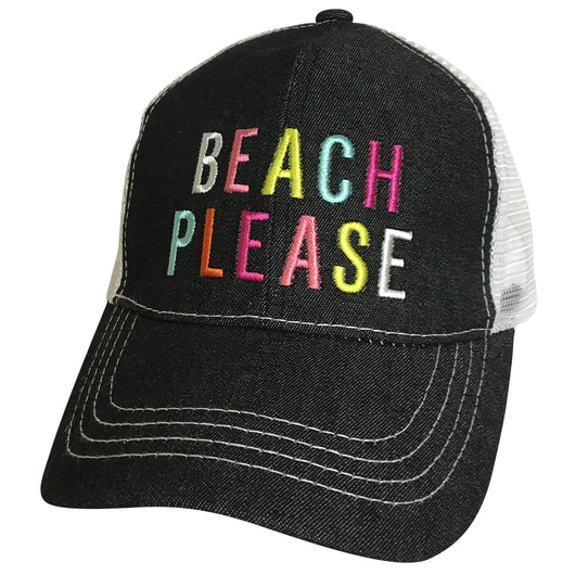 BJ-12 Beach Please Trucker Pony Caps Blk Denim Mesh