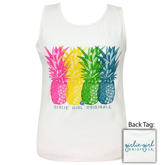 Vivid Pineapples-Comfort Color White Tank-2006