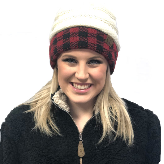 Hat-17 BUFFALO PLAID IVORY RED/BLACK