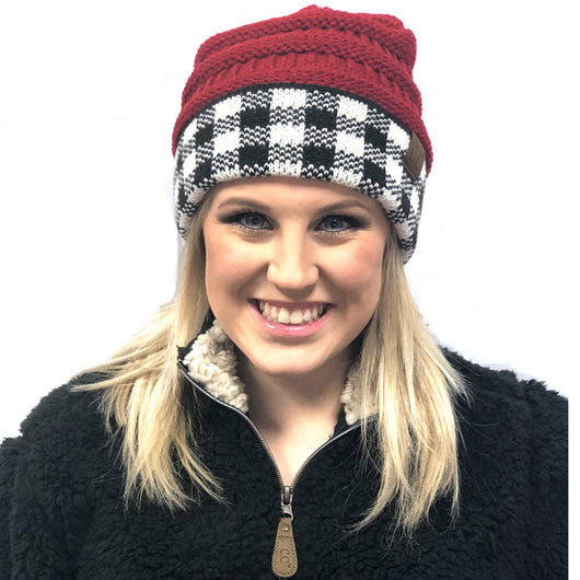 Hat-17 BUFFALO PLAID RED WHITE/BLACK