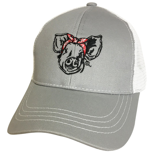 BJ-6 Bandana Pig Trucker Pony Caps Light Grey Mesh