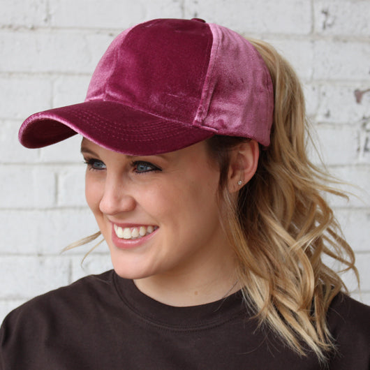 B-722 C.C Pony Caps Velvet Dark Rose