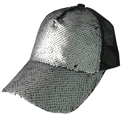 BT-723 Magic Sequin Pony Caps Matte Black/Matte Grey
