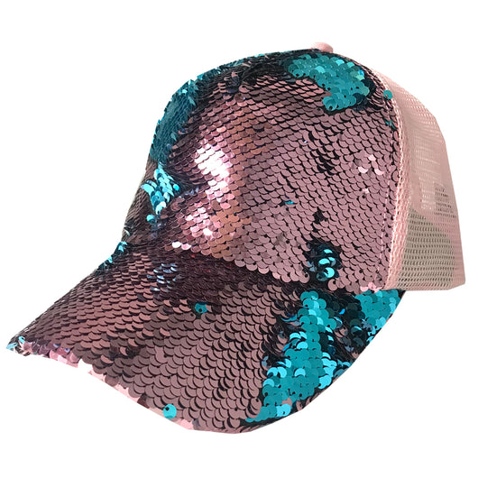 BT-723 Magic Sequin Pony Caps Rose/Teal