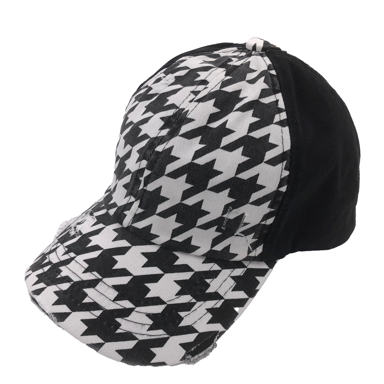 BT-801 C.C Criss Cross Pony Cap HOUNDSTOOTH/BLACK