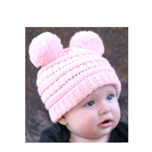 Baby-23 Double Pom Beanie Pale Pink
