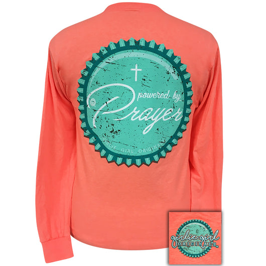 Powered By Prayer Retro Heather Coral Long Sleeve