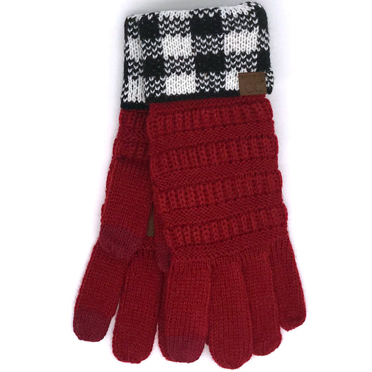 G-17 GLOVE BUFFALO PLAID CUFF RED WHITE/BLACK