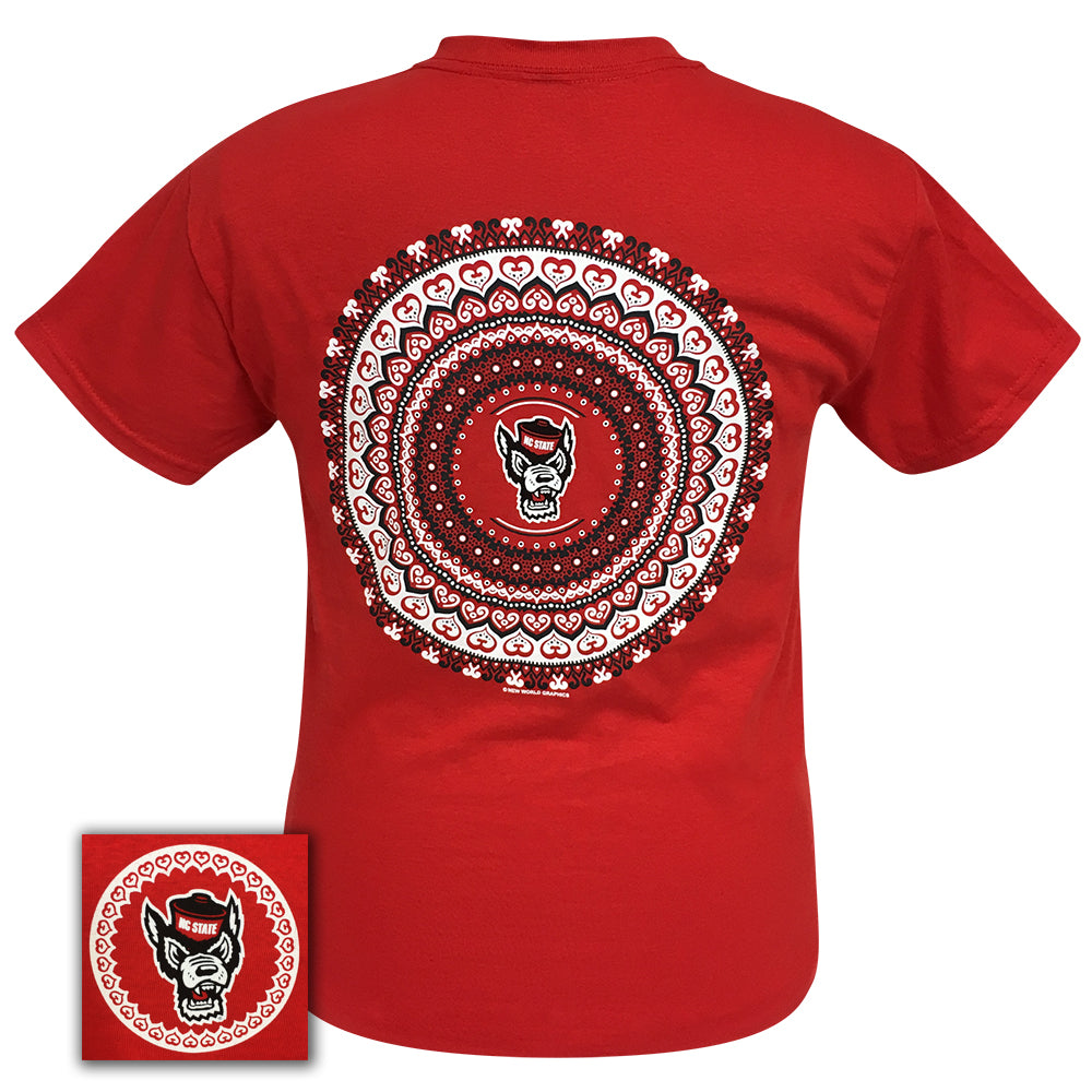 North Carolina State Mandala Red  Short Sleeve