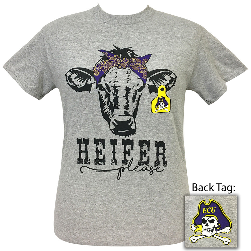 Heifer Please East Carolina Sports Grey Short Sleeve