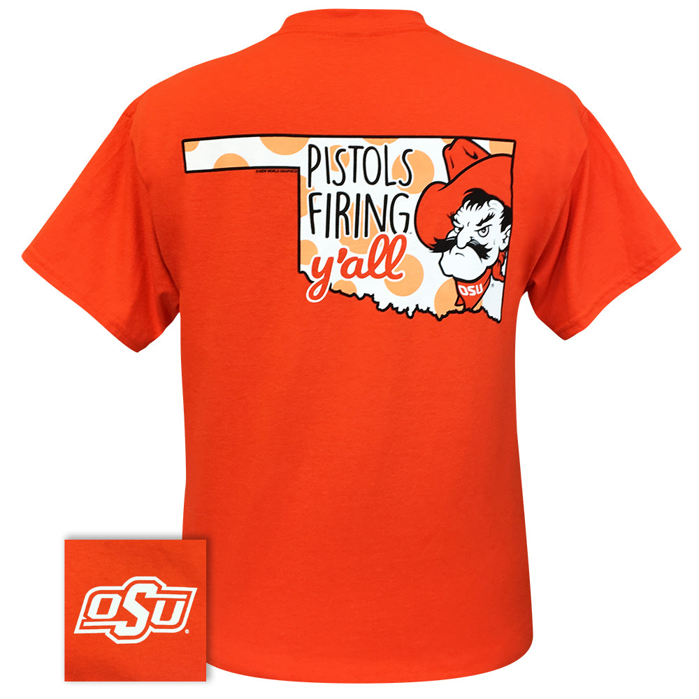 Pistols Firing Y'all Orange Short Sleeve
