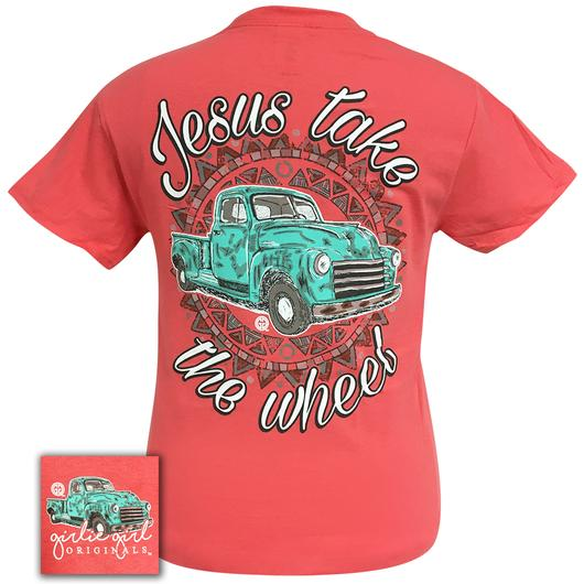 Jesus Take The Wheel-Coral Silk Short Sleeve