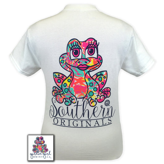 Frog Pattern White Short Sleeve