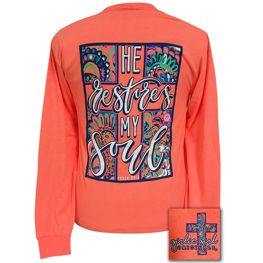 He Restores Retro Heather Coral Long Sleeve