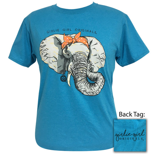 Bandana Elephant Turquoise Heather Short Sleeve Tee