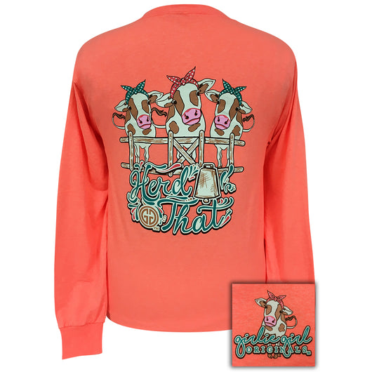 Herd That Retro Heather Coral Long Sleeve
