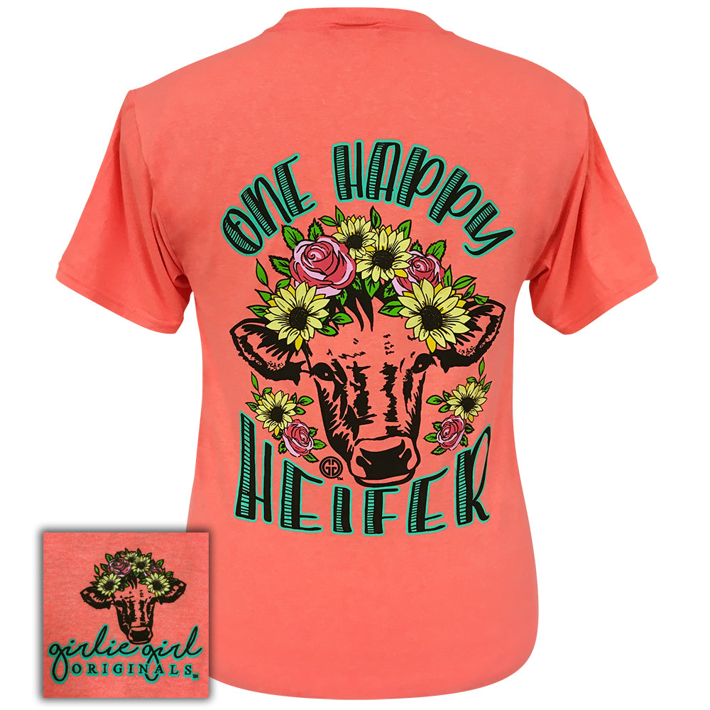 One Happy Heifer Retro Heather Coral Short Sleeve