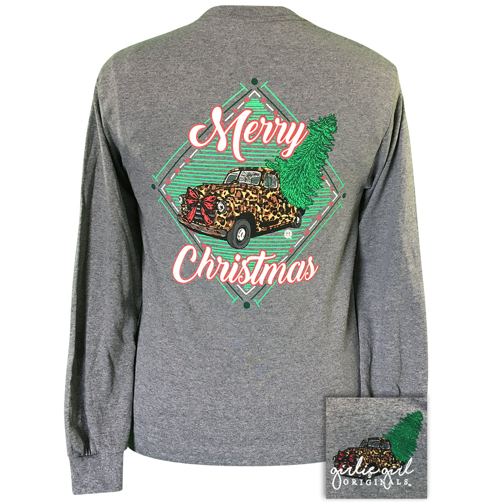 Leopard Truck Christmas Graphite Heather-2143 Long Sleeve