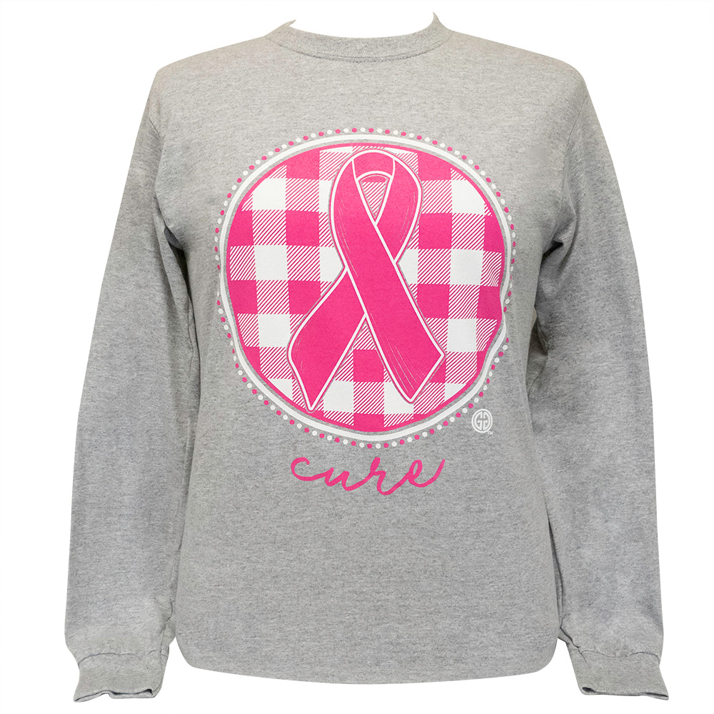Cure Ribbon Plaid Sports Grey-2153 Long Sleeve