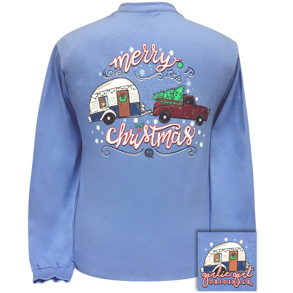 Christmas Trailer Carolina Blue Long Sleeve