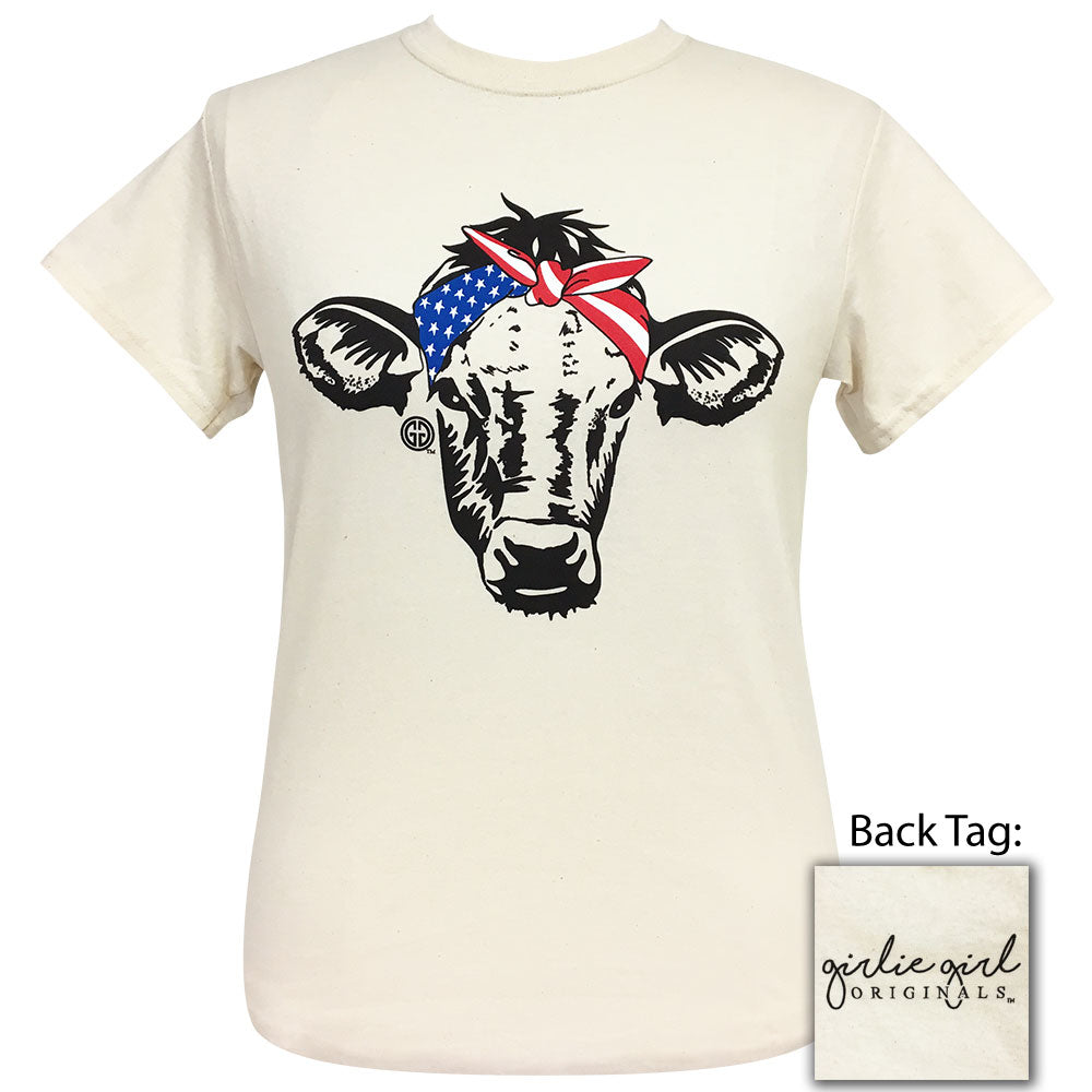 American Bandana Cow Natural Short Sleeve Tee
