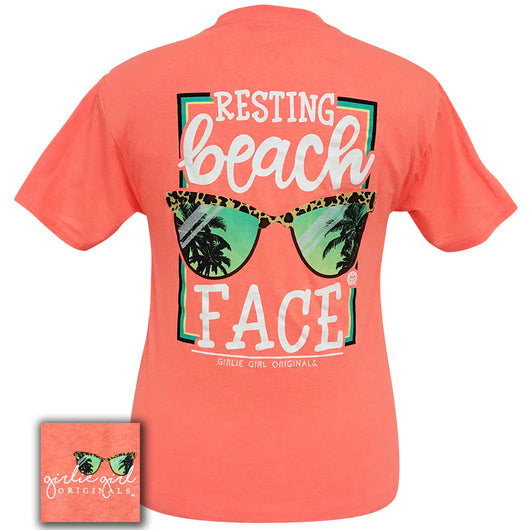 Resting Beach Face Retro Coral Short Sleeve Tee