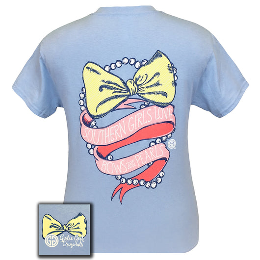 Bows and Pearls Light Blue Short Sleeve