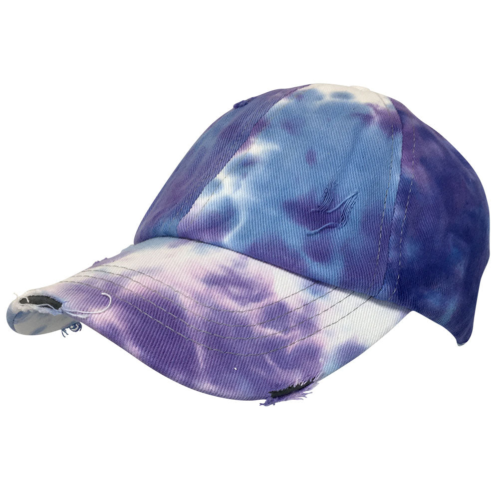 BT-791 C.C Criss Cross Tie Dye Pony Cap PURPLE