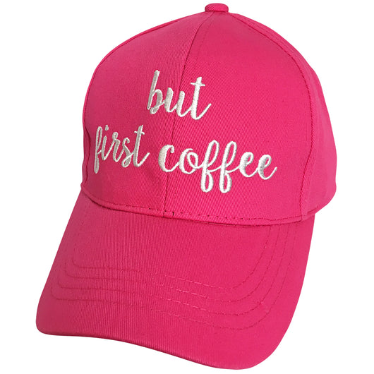 BA-2017 C.C But First Coffee Hot Pink Cap