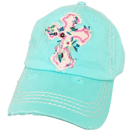 KBV-1208 Floral Cross Cap Diamond Blue