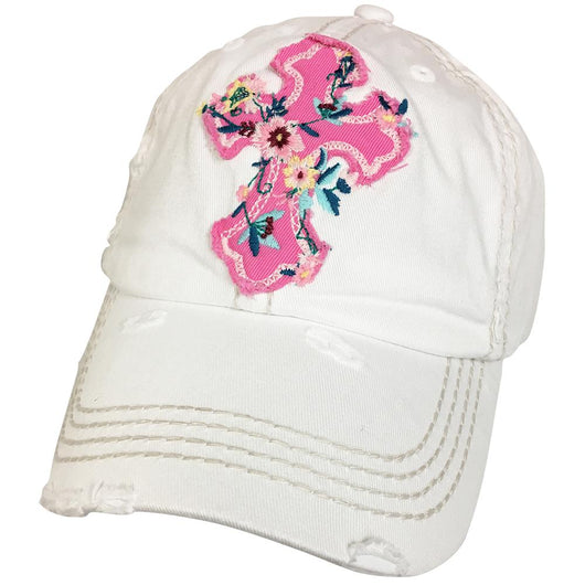 KBV-1208 Floral Cross Cap White