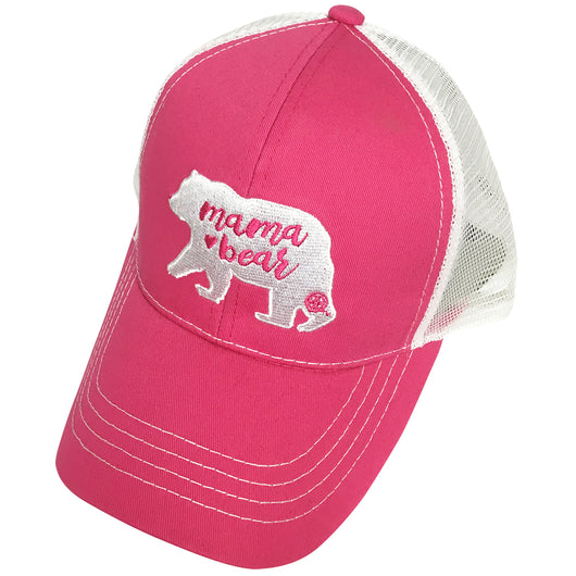 BJ-4 Mama Bear Trucker Pony Caps Hot Pink