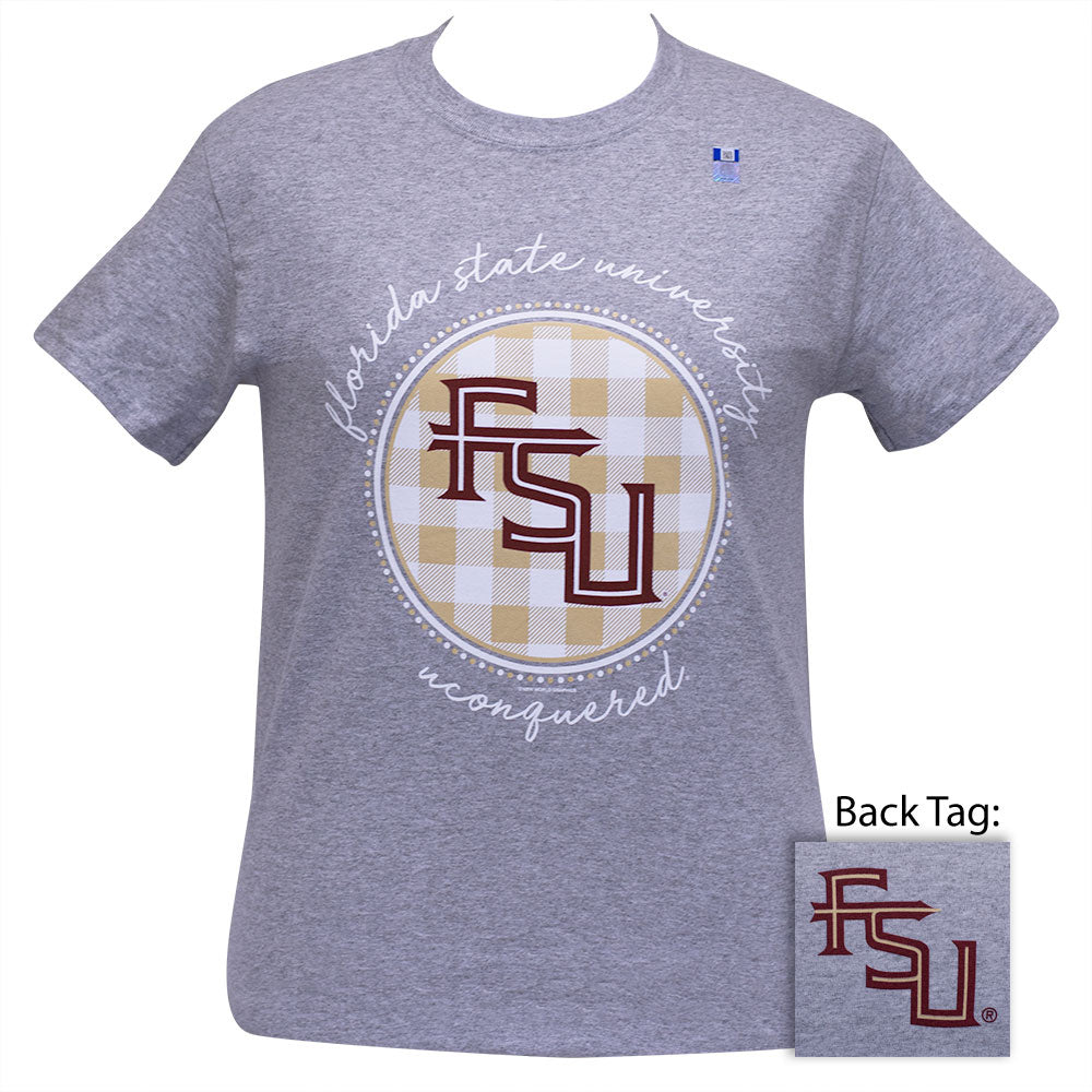 FSU Buffalo Plaid Sport Grey Short Sleeve