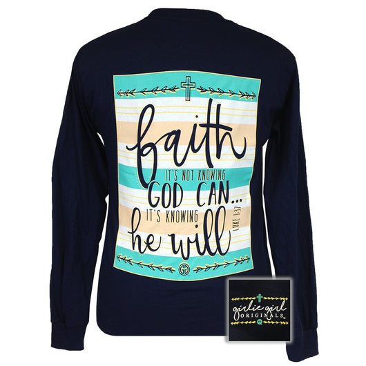 Faith He Will Navy Long Sleeve