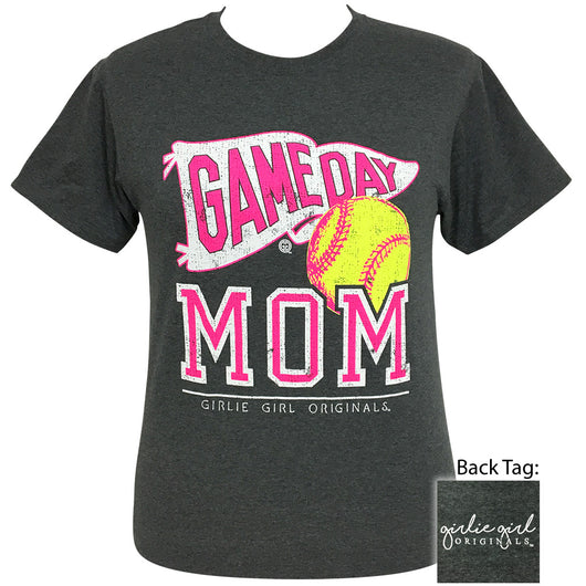 Game Day Mom Softball Black Heather Short Sleeve