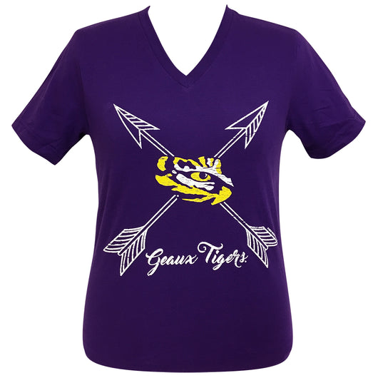 Arrows Geaux Tigers LSU Short Sleeve V-Neck Tee