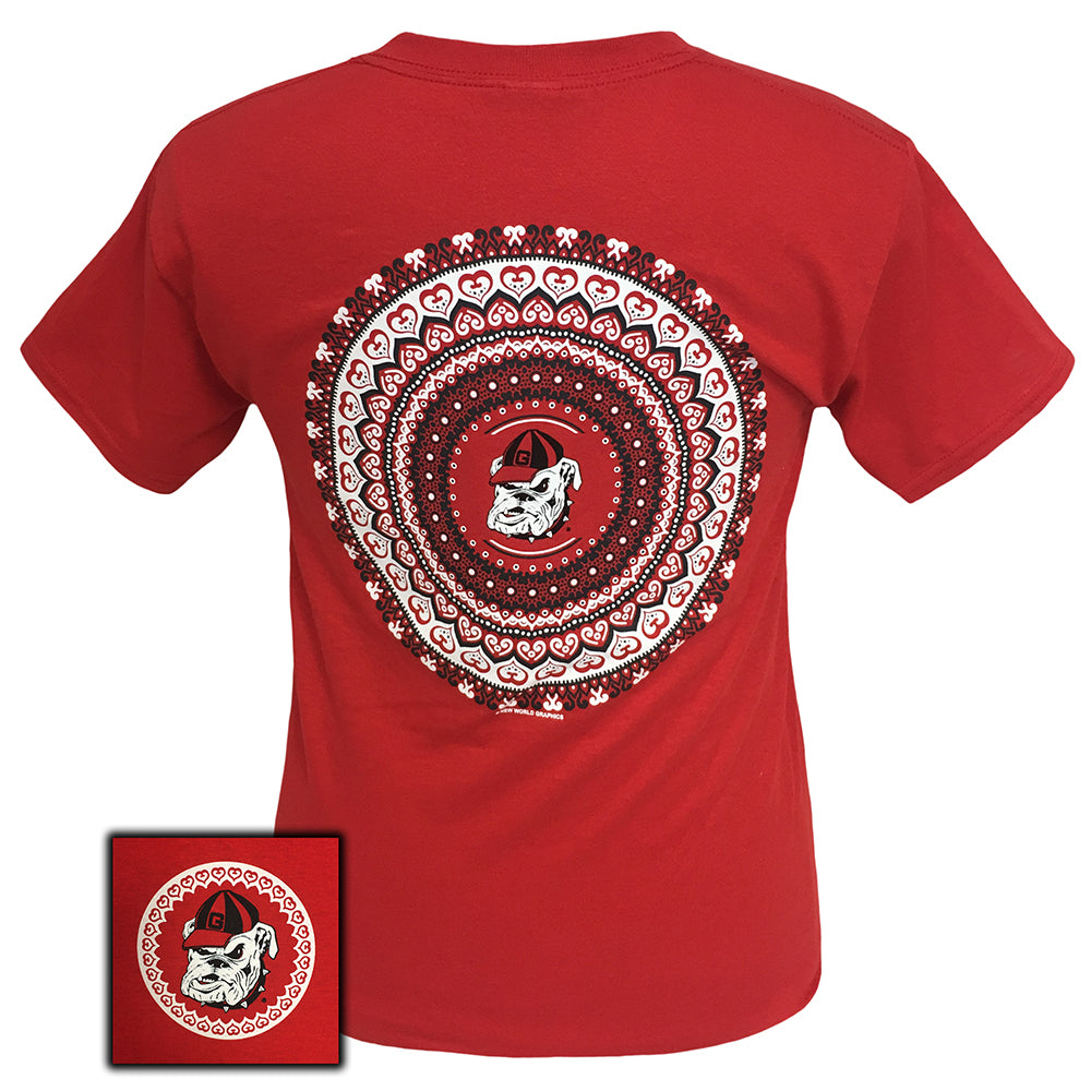 Georgia Mandala Red  Short Sleeve