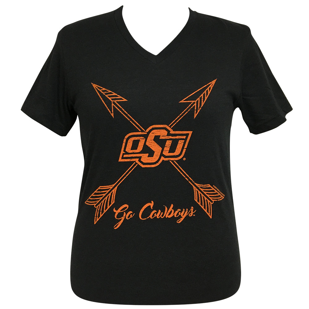 Arrows Go Cowboys Oklahoma State Short Sleeve V-Neck Tee