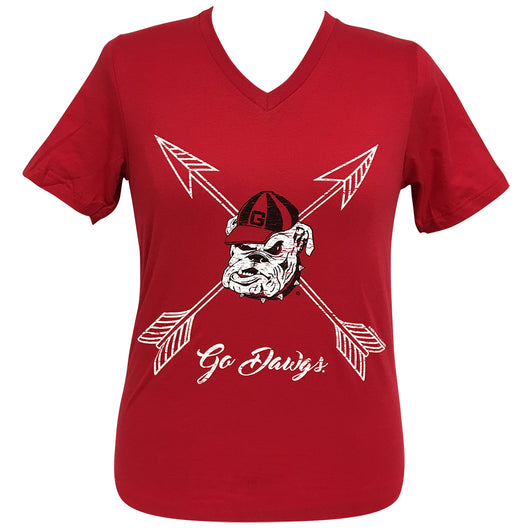 Arrows Go Dawgs GA Short Sleeve V-Neck Tee